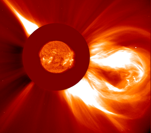 An explosive coronal mass ejection from the Sun. Credit: SOHO/ESA/NASA