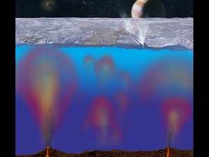 The deep ocean of Europa may be home to extremophile life forms. Credit: NASA/JPL/Michael Carroll
